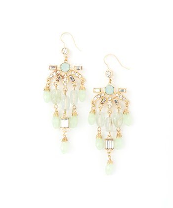 Gold & Green Chandelier Drop Earrings