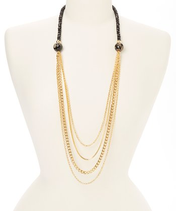 Gold & Black Jade Chain Necklace