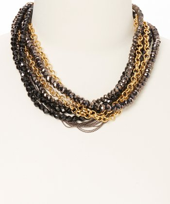 Black Crystal & Gold Chain Necklace