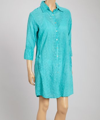 Yuka Beach Turquoise Button Cover-Up