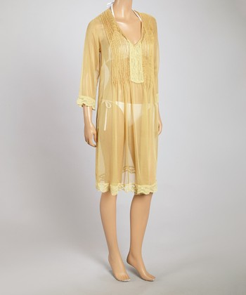 Yuka Beach Pale Yellow Pleated Lace Cover-Up