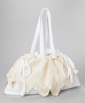 Yuka Beach White & Taupe Crocheted Tote