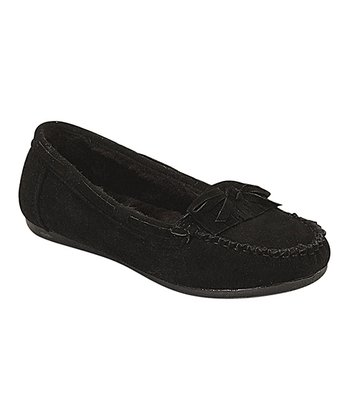Black Plush Moccasin
