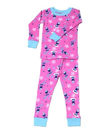 Pink & Blue Ski Bunny Organic Pajama Set - Infant, Toddler & Girls