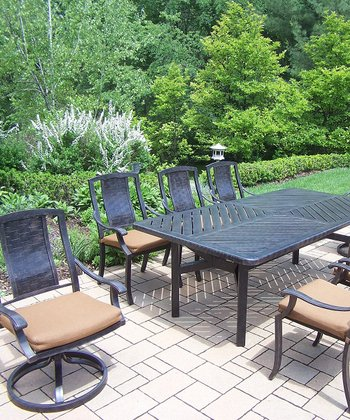 Aged Finish Vanguard Nine-Piece Outdoor Dining Set