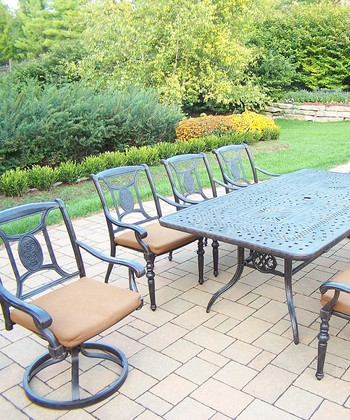 Aged Victoria Nine-Piece Outdoor Dining Set
