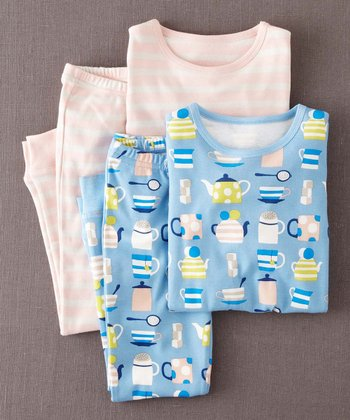 Light Blue Tea & White Stripe Pajama Set - Toddler & Girls
