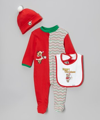 Red & Green 'Merry Christmas' Bear Footie Set - Infant