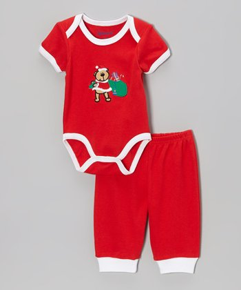 Red Santa Bear Bodysuit & Pants - Infant