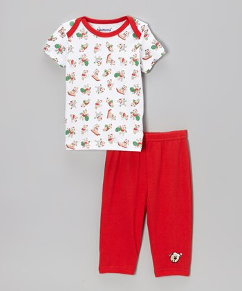 White & Red Bear Lap Neck Tee & Pants - Infant