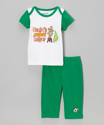 White & Green 'Santa's Cutest Helper' Tee & Pants - Infant