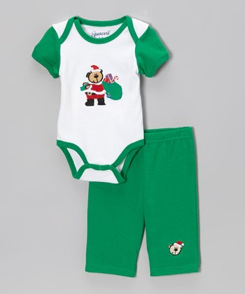 White & Green Santa Bear Bodysuit & Pants - Infant