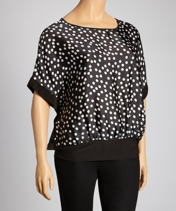 Black & White Dolman Top - Plus