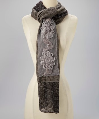 Black & White Embroidered Flower Scarf