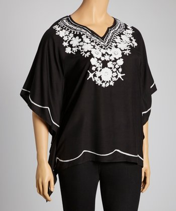Black & White Embroidered Flower Cape-Sleeve Top - Plus