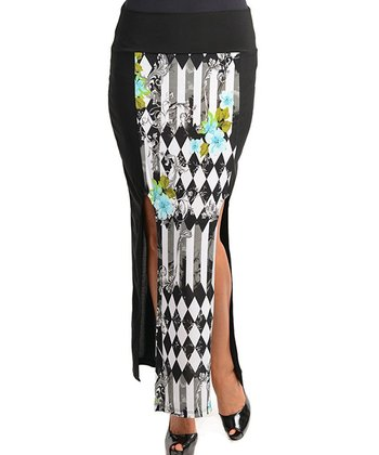 Black & White Diamond Slit Cutout Skirt - Plus