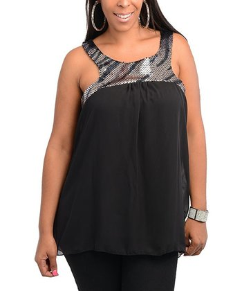 Black Sequin Ruched Top - Plus