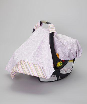 Pink Whimsy Stripe Reversible Car Seat Cover
