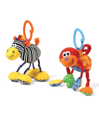 Infantino Black Zebra & Red Monkey Rattling Jittery Plush Toy Set