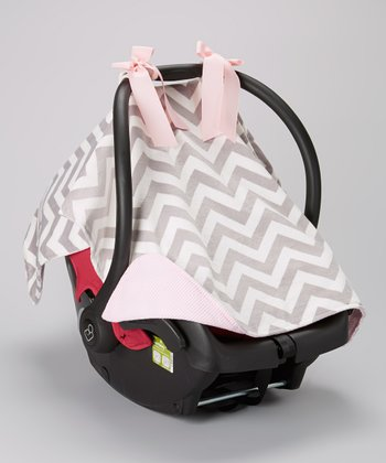 Caught Ya Lookin' Gray Zigzag & Pink Minky Car Seat Cover