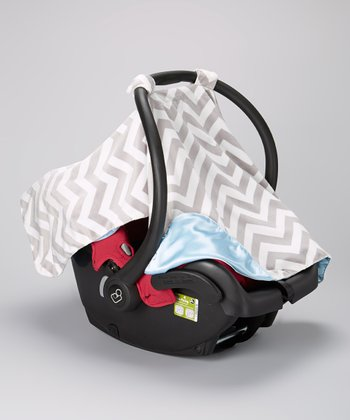 Caught Ya Lookin' Gray Zigzag Minky & Blue Satin Car Seat Cover