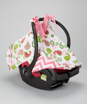 Caught Ya Lookin' Pink Paisley & Zigzag Minky Car Seat Cover
