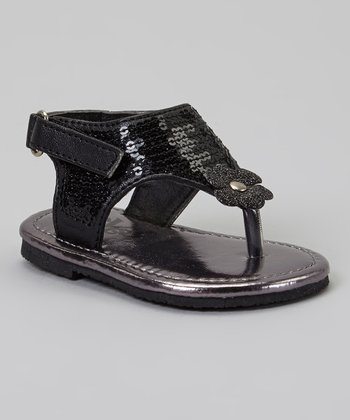 Black Sequin Daisy Sandal