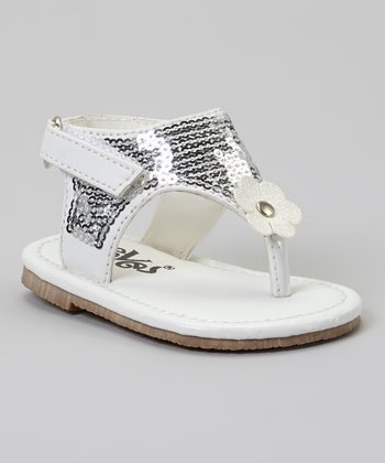 White Sequin Daisy Sandal