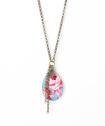 Turquoise & Pink Rose Crystal Pendant Necklace