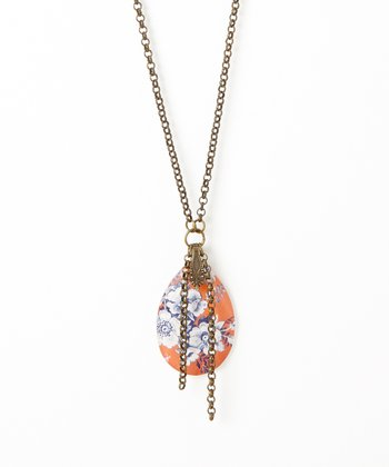 Coral Floral Crystal Pendant Necklace