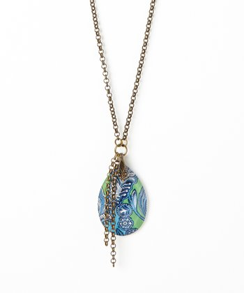 Turquoise & Green Filigree Crystal Pendant Necklace