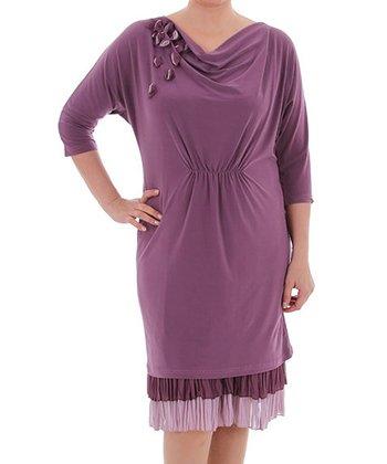 Plum Drape Neck Dress - Plus