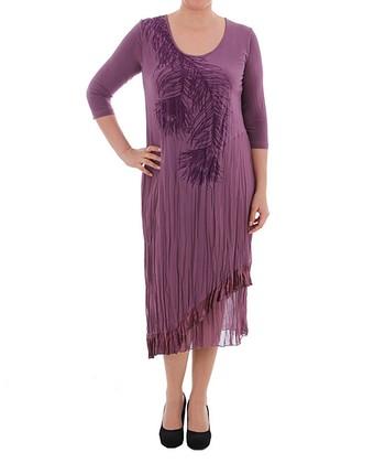 Plum Peacock Three-Quarter Sleeve Dress - Plus