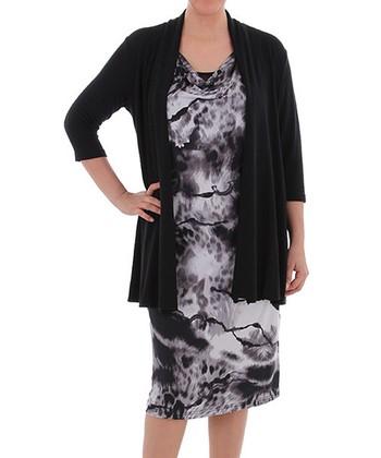 Black Layered Cowl Neck Dress - Plus