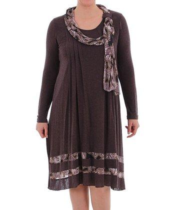 Brown Scarf Shift Dress - Plus