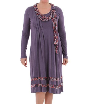 Gray Scarf Shift Dress - Plus