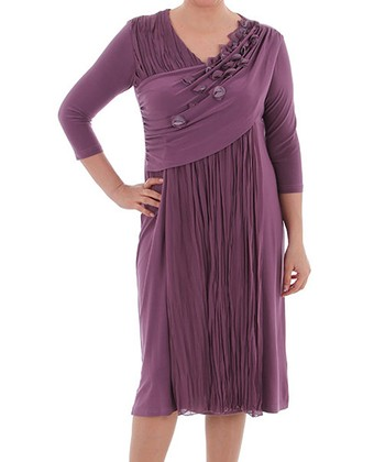 Plum Petal Surplice Dress - Plus