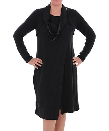 Black Strand Scarf Shift Dress - Plus