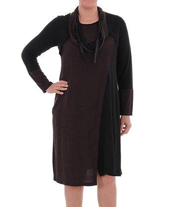 Brown Strand Scarf Shift Dress - Plus