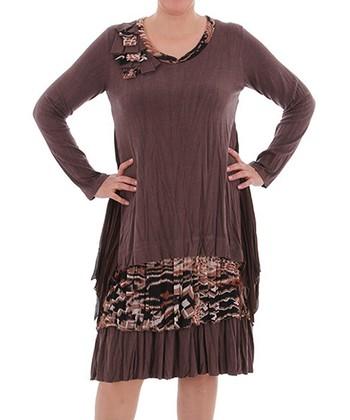 Brown Scoop Neck Dress - Plus