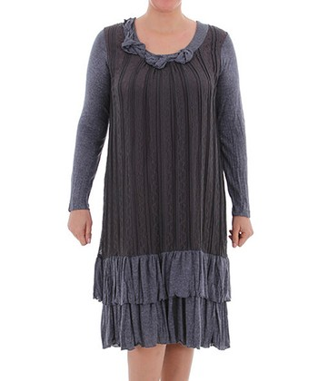 Gray Lace Shift Dress - Plus