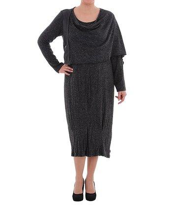 Black Asymmetrical Drape Neck Dress - Plus