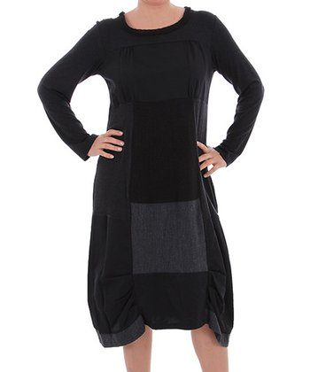 Black Patchwork Shift Dress - Plus