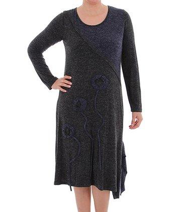 Black Ruffle Scoop Neck Dress - Plus