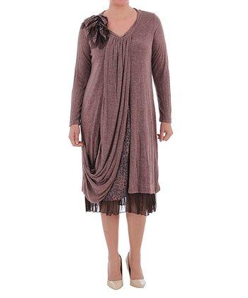 Cinnamon Side-Drape Shift Dress - Plus