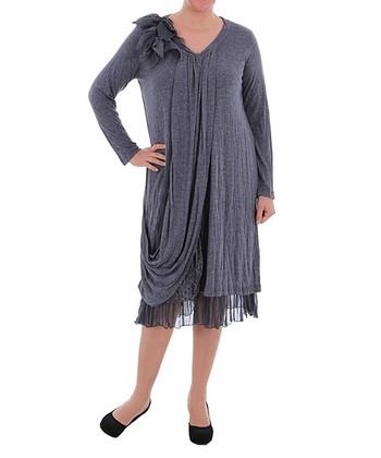 Gray Side-Drape Shift Dress - Plus