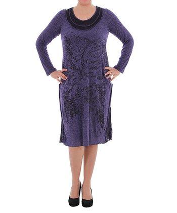 Purple Nature Scoop Neck Dress - Plus