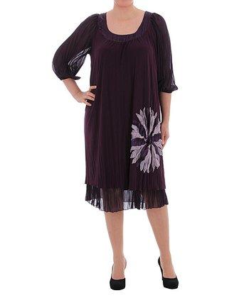 Purple Flower Shift Dress - Plus
