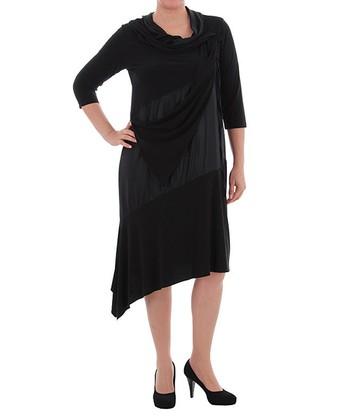 Black Scarf Cowl Neck Dress - Plus