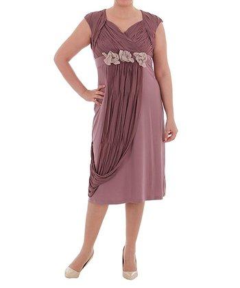 Dusty Rose Cap-Sleeve Dress - Plus